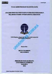 Analisis Swot Dan Penyusunan Strategi Pemasaran Pelabuhan Ferry