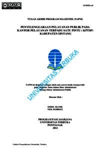 Penyelenggaraan Pelayanan Publik Pada Kantor Pelayanan Terpadu Satu Pintu Kptsp Kabupaten Sintang Universitas Terbuka Repository