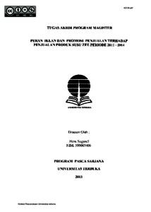 Peran Iklan Dan Promosi Penjualan Terhadap Penjualan Produk Susu Zee Periode 2011 2014 Universitas Terbuka Repository